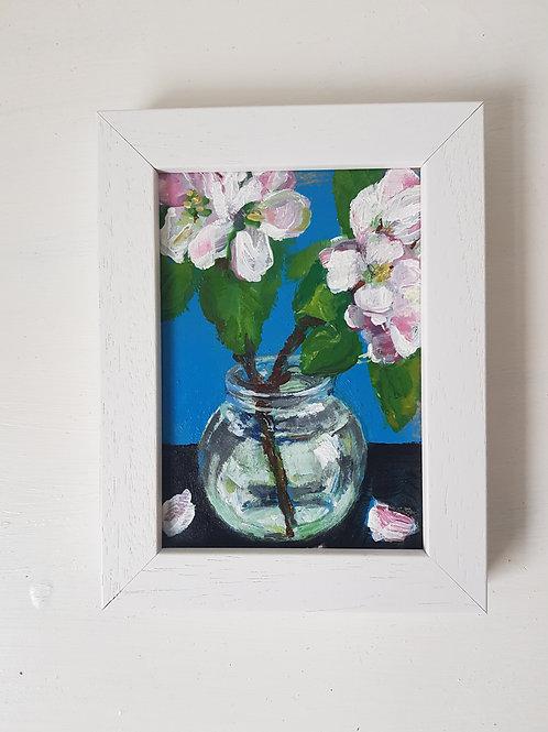 A6 Apple blossom still life painting (NFS)