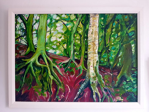 A3 Framed Painting - Roots