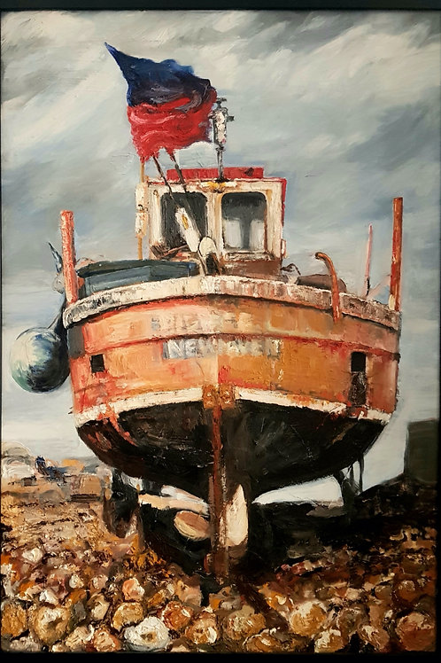 A0 Oil Painting- Orange Fishing Boat (NFS)