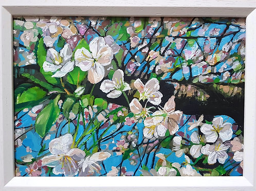 A4 Acrylic Painting Cherry Blossom Branch- SOLD