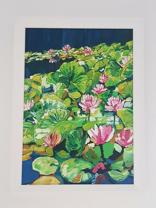 A4 Framed Oil Painting - Waterlillies