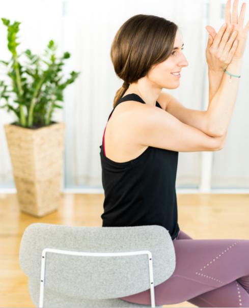 Eagle pose chair yoga