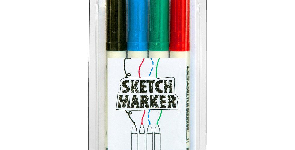 MAG1010 - Sketch Marker Pens 4 pack - Black/ Blue/ Green/ Red