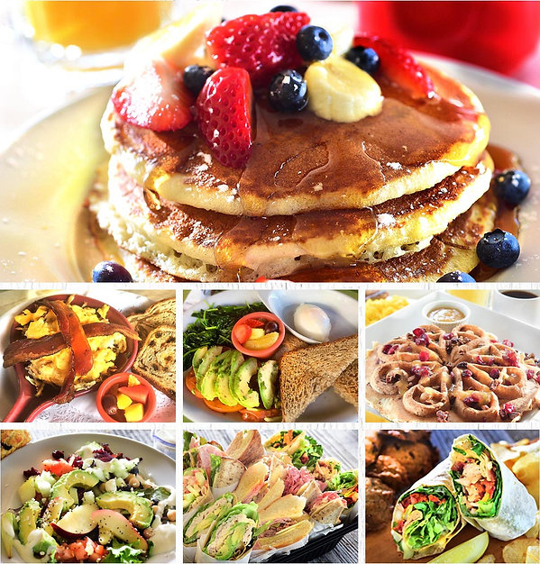 Food montage with pancakes, skillets, waffles, salads, sandwiches, and wraps
