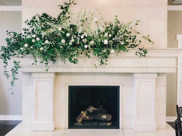 wedding fireplace mantel floral design