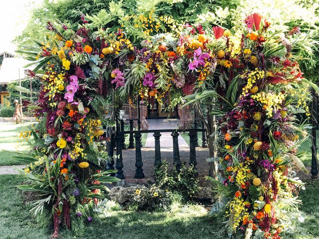 wedding floral installation. tropical flowers.