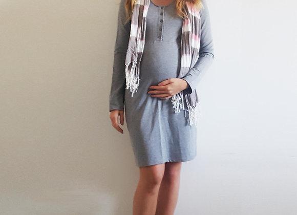 Vestido botões manga longa cinza