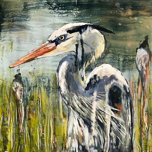 Heron Encaustic Painting