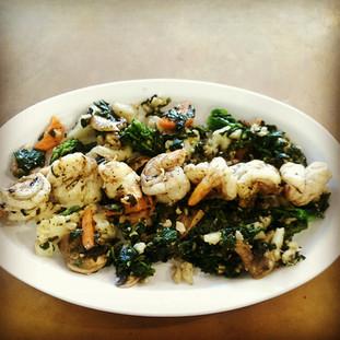 shrimp and vegie plate