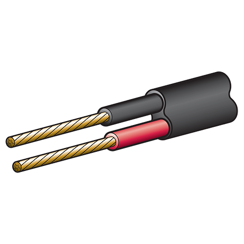 4mm TWIN SHEATH RD/BLK CABLE 30m