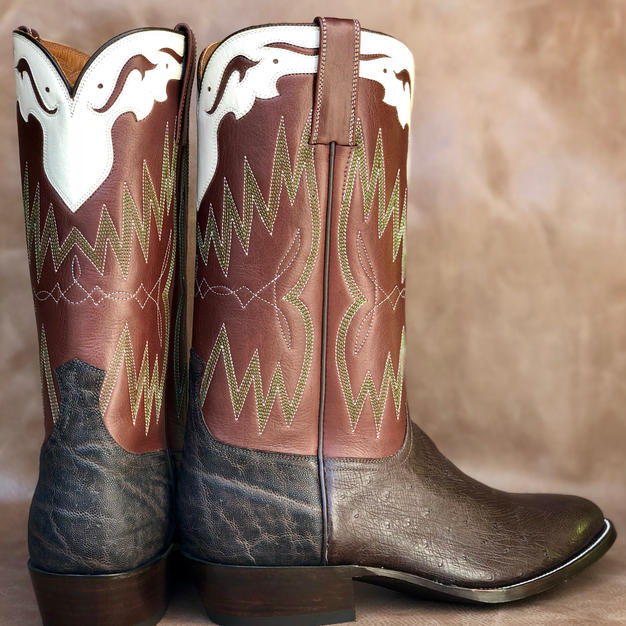 Mens Custom Ostrich and Elephant Boots