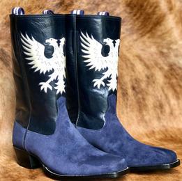 Mens Custom Blue Suede Boots