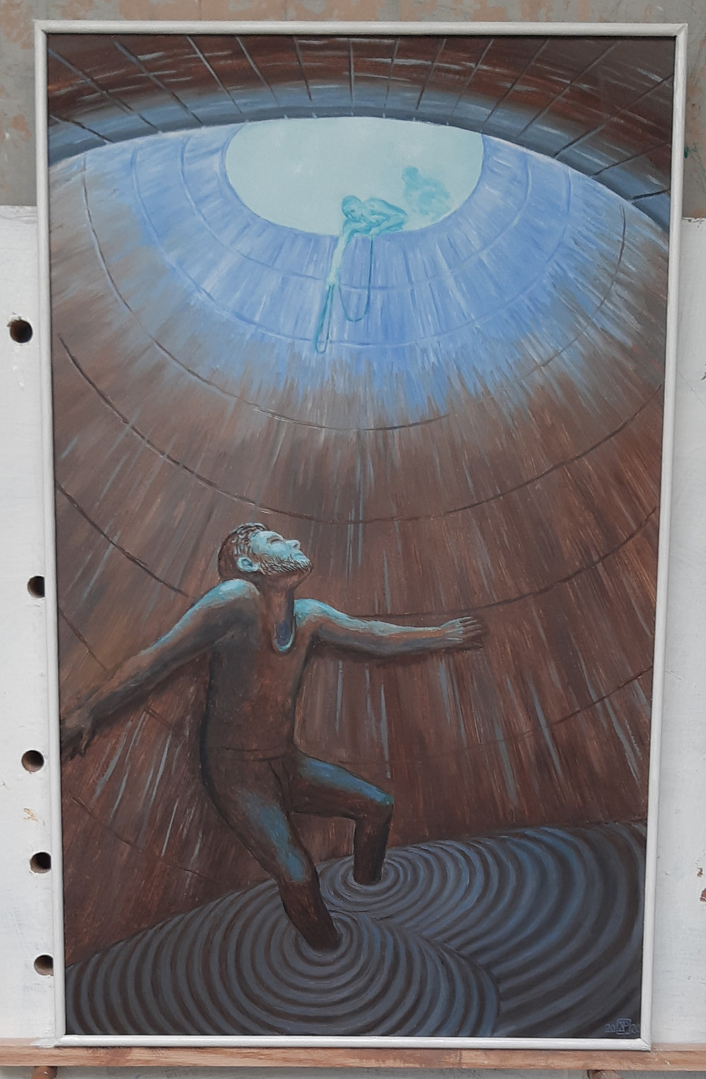 Completed painting of Jeremiah down the well, you can see Jeremiah at the bottom holding onto the wall, feet in the mud. At the top of the well, his rescuers are visible through a bright light blue haze lowering a rope that hasn't reached him. The painting is edged with a thin white baton