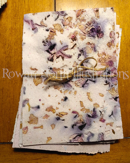 Handmade Recycled Paper 5x7 Set of 5- Flower Embed