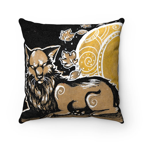 Faux Suede Square Pillow- The Harvest Moon