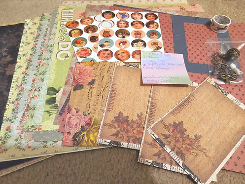 Crafting Grab Bag- Grandmother's Couch Vintage Floral