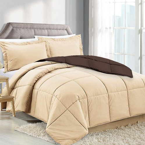 CREAM/CHOCOLATE  REVERSIBLE COMFORTER