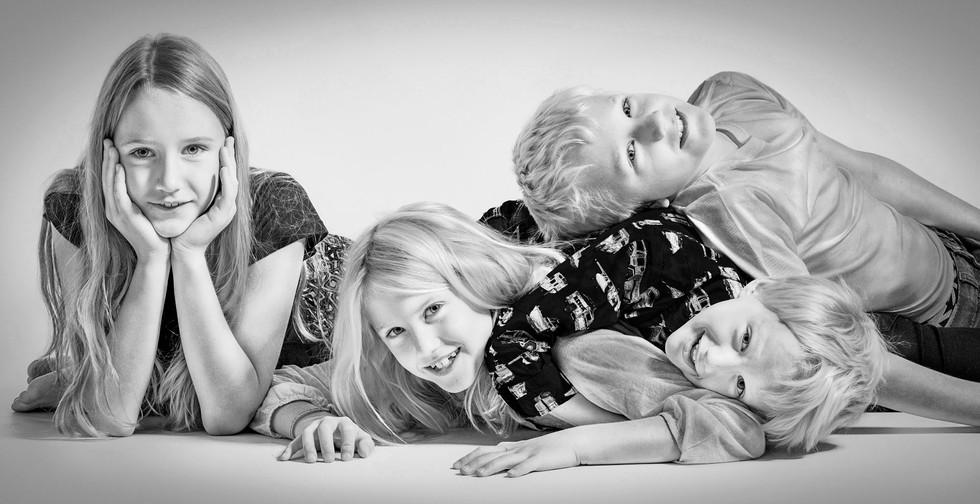 four siblings photo in B&W