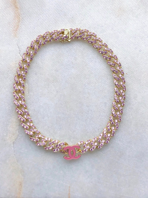 PRETTY PINK CHANEL CHOKER - REWORKED VINTAGE COLLECTION