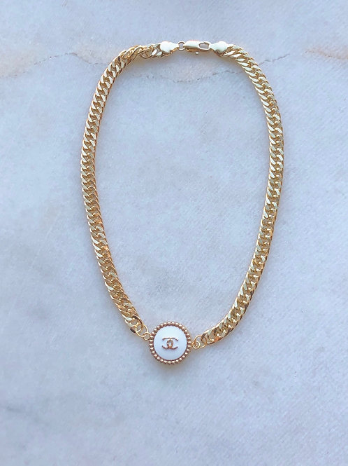 GOLD/WHITE CHANEL CHOKER - REWORKED VINTAGE  COLLECTION