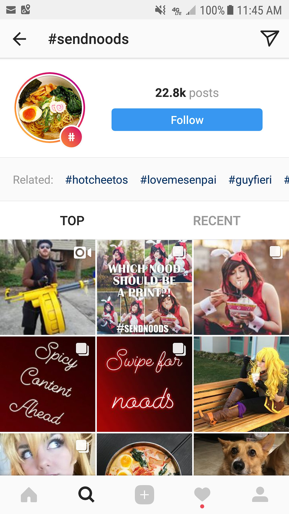 An instagram page depicting the hashtag send noods and all the posts that follow it