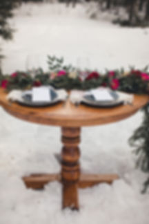 Outdoor wedding decor snow wedding rustic elegant hot pink flowers Ottawa