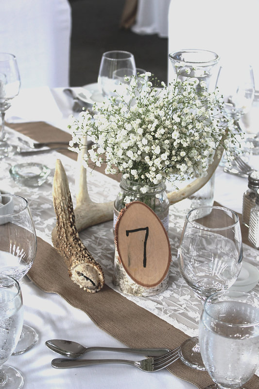 rustic wedding reception baby's breath