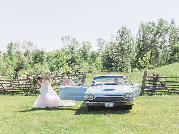 Ottawa Wedding Photography Bride Getting out of vintage car at ceremony