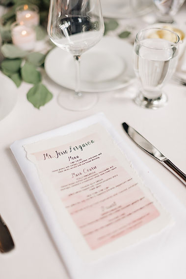 Ottawa Wedding Photography Blush Watercolour menu with guest name