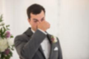 Groom sheds tear as bride walks down aisle