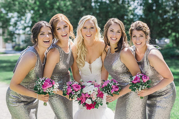 Ottawa Wedding Photography Bride and bridesmaids grey sequin dresses pink bouquet