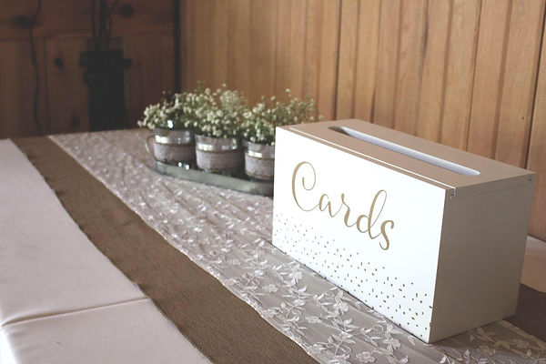 rustic card table with card box