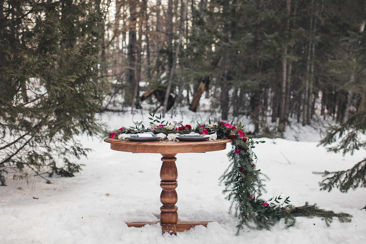 Outdoor wedding decor snow wedding rustic elegant hot pink flowers