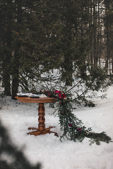 Outdoor wedding decor snow wedding rustic elegant hot pink flowers Ottawa