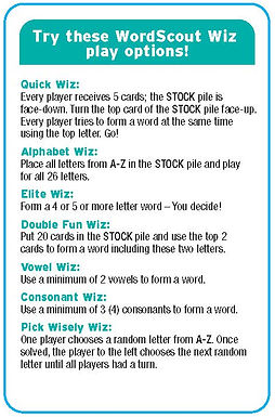 WordScout Wiz Play Options / Variations