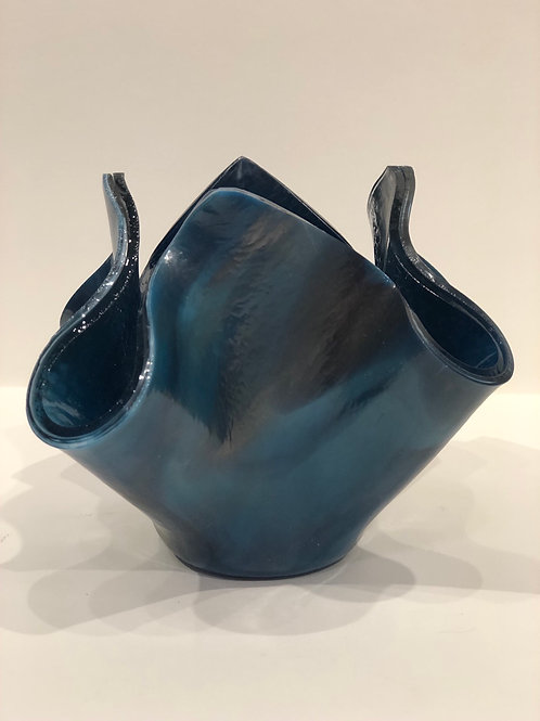 Blue and silver (Stryker glass) vase