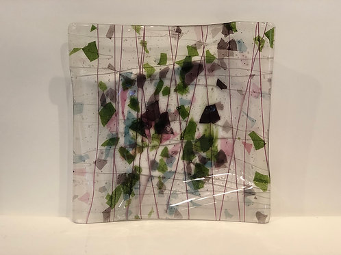 """11"""" x 11"""" one of a kind glass platter"""