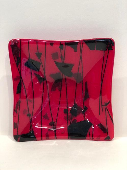 Red & black glass jewelry dish