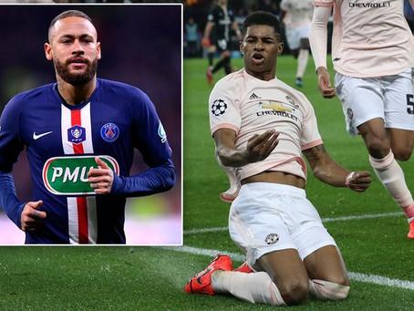 Neymar responds to Man Utd star Marcus Rashford's post about Champions League comeback.
