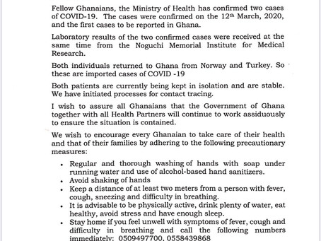 (((BREAKING NEWS)))Two cases of coronavirus confirmed in Ghana put in isolation.