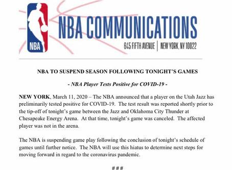 Breaking News - The NBA suspends season till further notice as precautions to Corona virus.