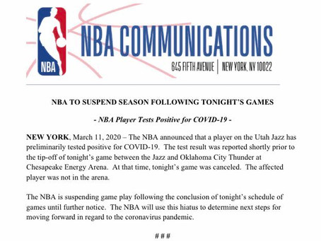 Breaking News - The NBA suspends season till further notice as precautions to Corona virus.
