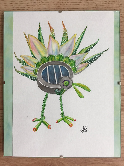 Solar succulent robot peacock