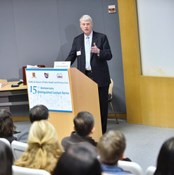 Dr. Harrison C. Spencer, President and CEO of Association of Schools and Programs of Public Health, presenting in our School's 15th Anniversary Distinguished Lecture Series