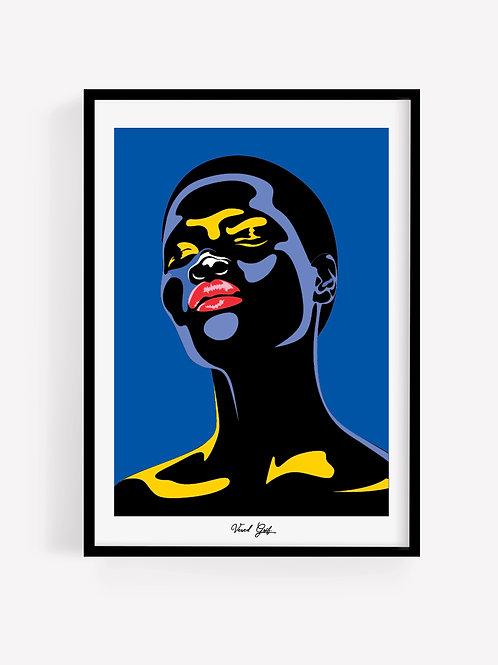 Woman illustration - Blue background