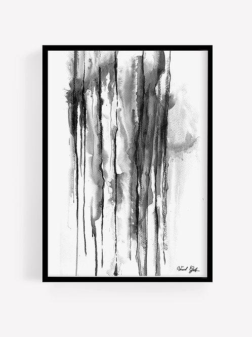 אבסטרקט שחור לבן בצבעי מים | Abstract watercolor painting