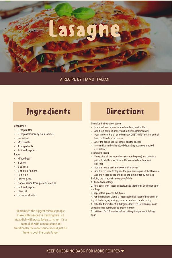 Lasagne Tiamo Italian