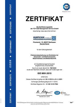 Zertifikat_TUEV_SUED_Kuntschik_ISO_9001-