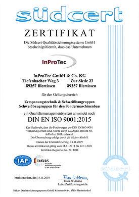 Zertifikat südcert DIN EN ISO 9001:2015