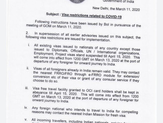 Visa Restrictions related to COVID-19